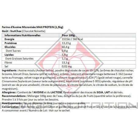 AVOINE EN POUDRE MAX PROTEIN 1,5KG MAX PROTEIN Avoine instantanée Power Nutrition