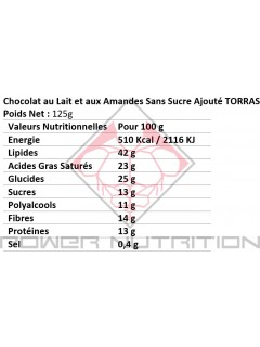 CHOCOLAT SANS SUCRE AJOUTÉ TORRAS TORRAS Plaisirs chocolatés Power Nutrition