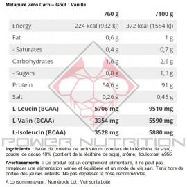 Valeurs Nutritionnelles Metapure Zero Carb QNT