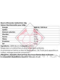 BEURRE D'AMANDE GO NUTRITION™ GO NUTRITION Beurre d'amande Power Nutrition