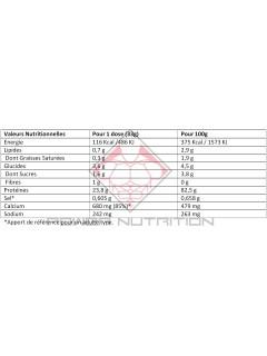 Tableau nutritionnel 100% Casein Gold standard optimum nutrition chocolat