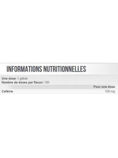 CAFEINE SCITEC NUTRITION 100 gélules SCITEC NUTRITION Stimulants Naturels Power Nutrition