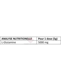 Tableau nutritionnel 100% Pure L- Glutamine Corgnenic