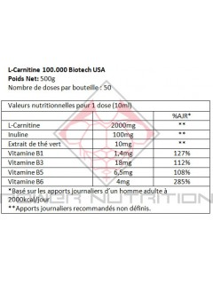 CARNITINE LIQUIDE 100.000 BIOTECH USA BIOTECH USA Carnitine Power Nutrition