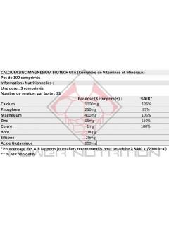 CALCIUM ZINC MAGNESIUM BIOTECH USA BIOTECH USA Vitamines et minéraux Power Nutrition