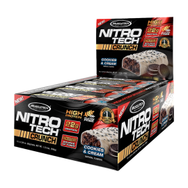 12 x BARRES PROTEINEES NITROTECH CRUNCH MT MUSCLETECH Barres protéinées Power Nutrition