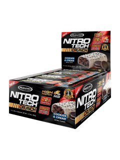 12 x BARRES PROTEINEES NITROTECH CRUNCH MT MUSCLETECH Barres protéinées Power Nutrition