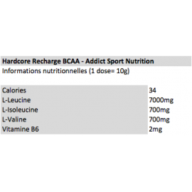 HARDCORE RECHARGE 10:1:1 ADDICT ADDICT SPORT NUTRITION BCAA  Power Nutrition