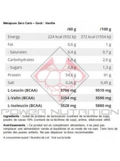 METAPURE ZERO QNT 480g QNT  Whey Protéine Isolate Power Nutrition