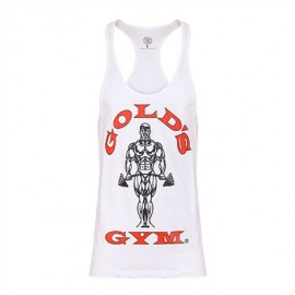 STRINGER MUSCLE JOE PREMIUM GOLD'S GYM BLANC / ROUGE GOLD'S GEAR Hommes Power Nutrition