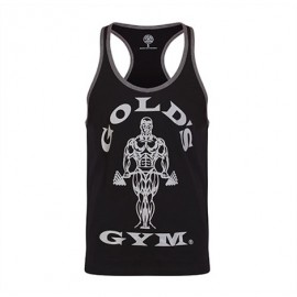 STRINGER JOE CONTRAST GOLD'S GYM NOIR / GRIS GOLD'S GEAR Hommes Power Nutrition