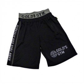 MESH SHORT ZIP POCKET GOLD'S GYM NOIR GOLD'S GEAR Hommes Power Nutrition