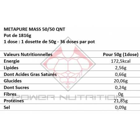 METAPURE MASS 50/50 QNT 1.8kg QNT  Gainers Power Nutrition