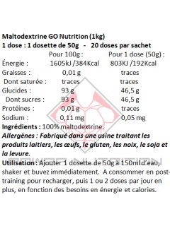 MALTODEXTRINE PURE GO NUTRITION™ GO NUTRITION Autres glucides Power Nutrition