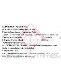 100% PURE GLYCINE EN POUDRE BBW BODYBUILDING WAREHOUSE (BBW) Acides Aminés Power Nutrition