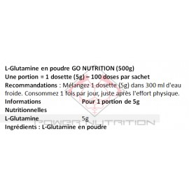GLUTAMINE GO NUTRITION™ GO NUTRITION Glutamine Power Nutrition