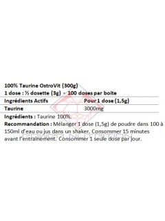 100% TAURINE PURE OSTROVIT OSTROVIT Acides Aminés Power Nutrition